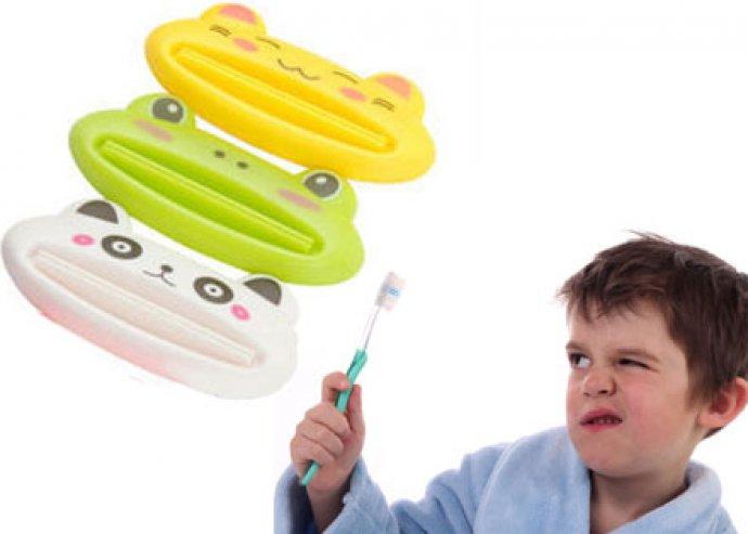 Játékos fogmosás - 2 db állatos fogkrém kinyomó, választhatóan béka, cica vagy panda mintával