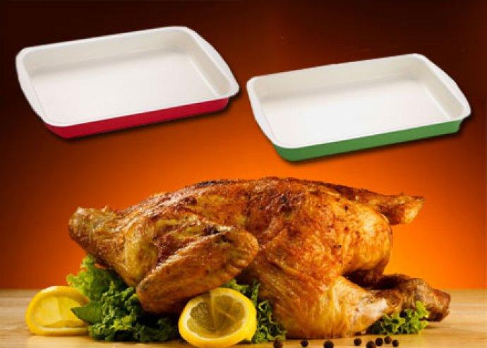 Kevés olajjal használható, 30 cm-es, 2 rétegű kerámia bevonatú, szögletes sütőtepsi 2-féle színben