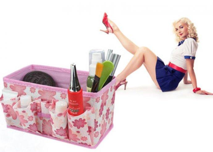 Stílusos, rózsaszínű multifunkcionális táska kozmetikai- vagy irodaszereknek, pipere-felszerelésnek