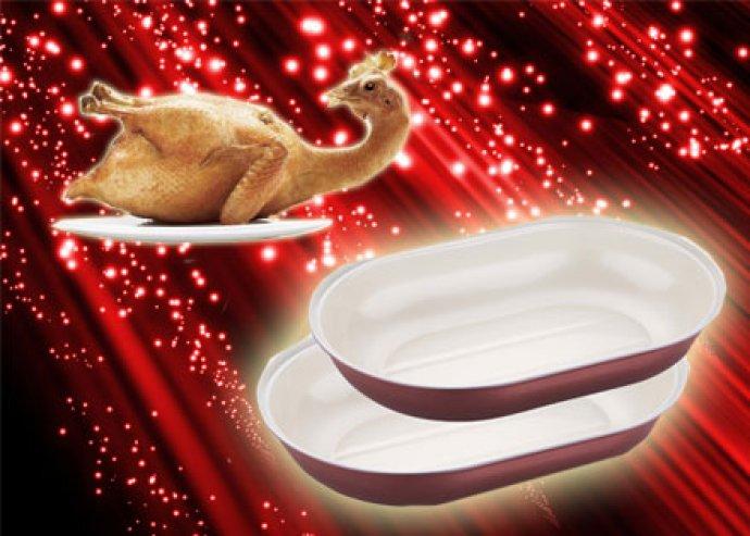 2 db tapadásmentes felületű, kevés olajjal használható, 2-rétegű kerámia bevonatú, ovális sütőtepsi
