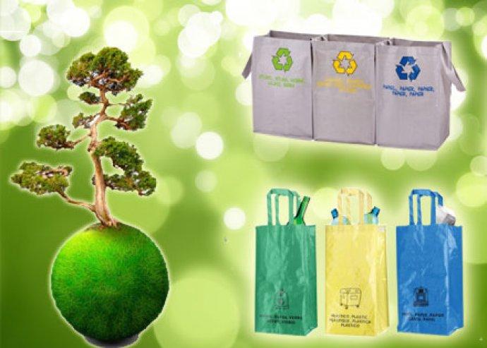 3-részes, praktikus, környezetbarát, szelektív hulladékgyűjtő táska szett, 2-féle típusban