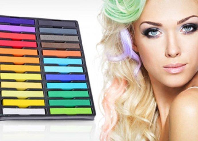 Pompázz a tavasz színeiben -  könnyen kimosható, káros anyagoktól mentes, 24 színből álló hajszínező kréta