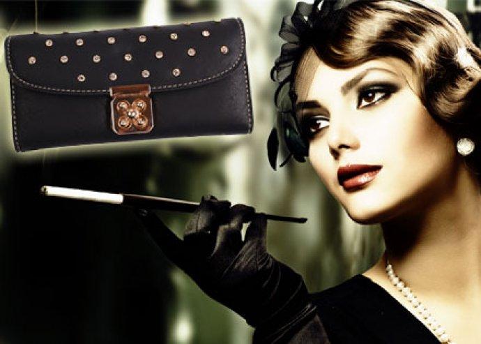 Kiváló minőségű, stílusos, kristályköves pénztárca választhatóan fekete, zöld vagy barna színben