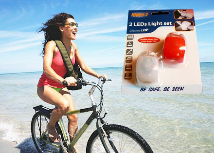 Profi kiegészítő - 2 db-os, energiatakarékos, szilikon anyagú, vízálló, LED-es kerékpár lámpa szett
