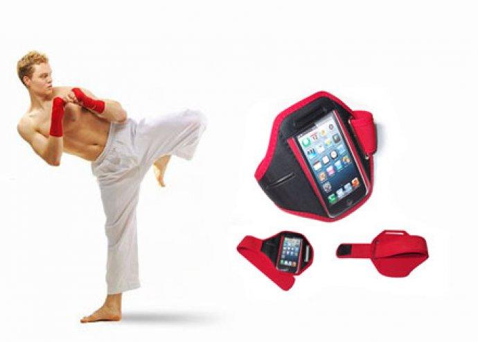 Kényelmes megoldás sportolás közben - karra rögzíthető, vízálló, fekete színű telefontartó iPhone-hoz