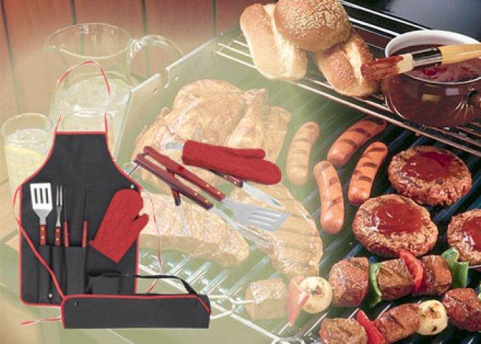 BBQ-ízélmények - 5-részes, komplett barbecue szett a legnagyszerűbb szabad tüzes sütésekhez
