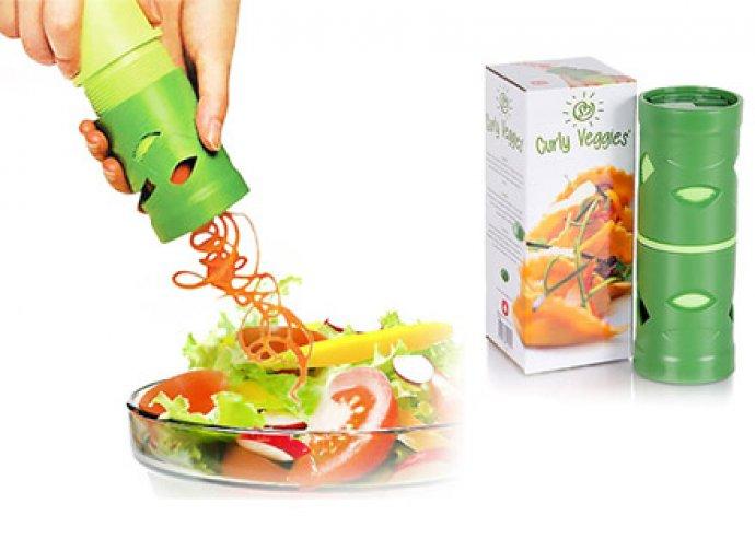 Varázsold elegánssá ételeid - Curly Veggies zöldség daraboló és spirálkészítő cserélhető vágófejekkel