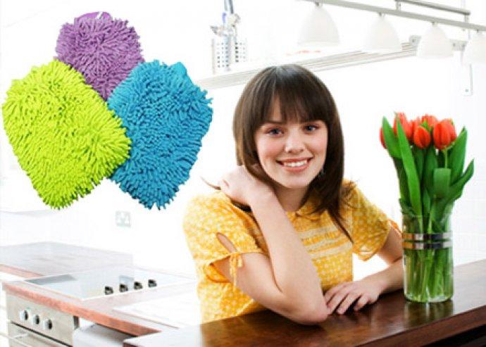 Hatékony takarítás - 2 db mosható, kétoldalas mikroszálas törlőkesztyű, portörléshez vagy polírozáshoz