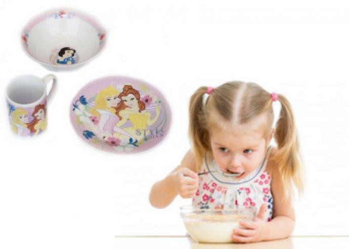 Disney reggeliző szett gyerekeknek, tányérral, bögrével, müzlis tállal, választható mintával