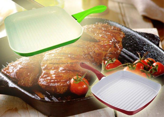 Egészséges ételek gyorsan! Tapadásmentes, kerámia bevonatú grill serpenyő, piros vagy zöld színben