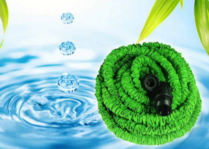 Locsolj kényelmesen! Könnyen tárolható, önmagától zsugorodó és kinyúló Xhose locsolócső zöld színben