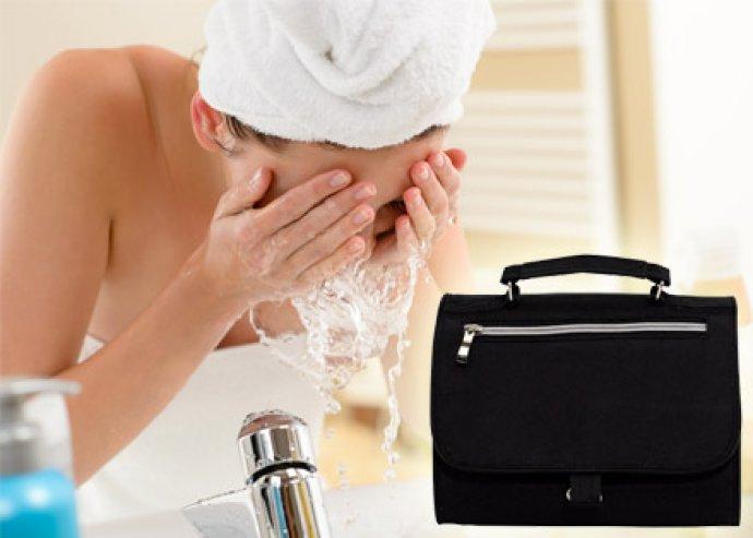 Stílus és minőség - praktikus kozmetikai táska 5 db cipzáras zsebbel, tükörrel és akasztóval