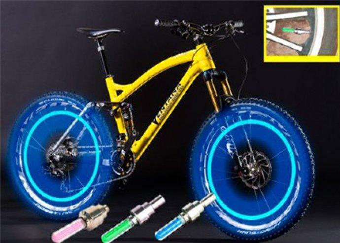 2 db trendi, könnyen felhelyezhető, biztonságos, világító, kerékpáros szelepsapka, 4-féle színben