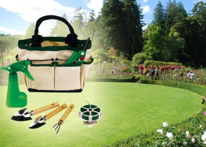 Kertészkedés felsőfokon - 7 részes kerti készlet gereblyével, 2 lapáttal, metszőollóval, dróttal, permetezővel