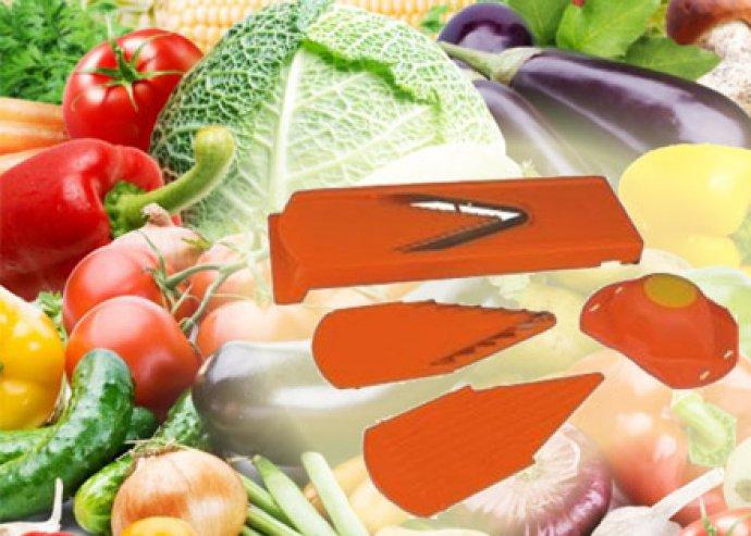 Professzionális V-gyalu cserélhető, rozsdamentes acél pengékkel, az ételek könnyed szeleteléséhez