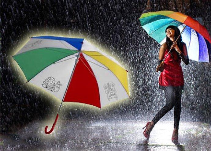Színes, vidám, gyerekbiztosan kezelhető, kifesthető gyermekesernyő 4 db színezővel