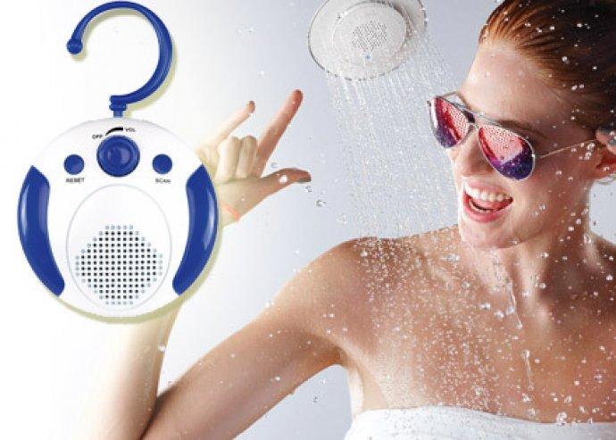 Jó hangulat fürdőzés közben - csempére rögzíthető vízálló zuhanyrádió, hangerőgombbal, AM és FM üzemmóddal