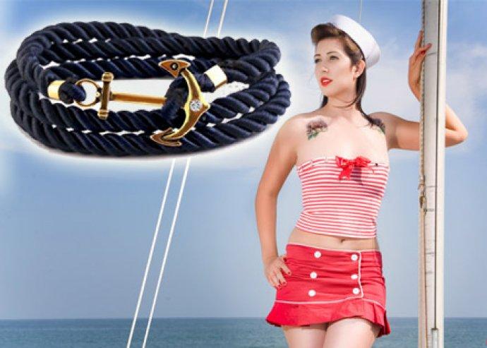 Légy divatos nyáron is! Swarovski kristállyal díszített tengerész stílusú karkötő, 4 választható színben