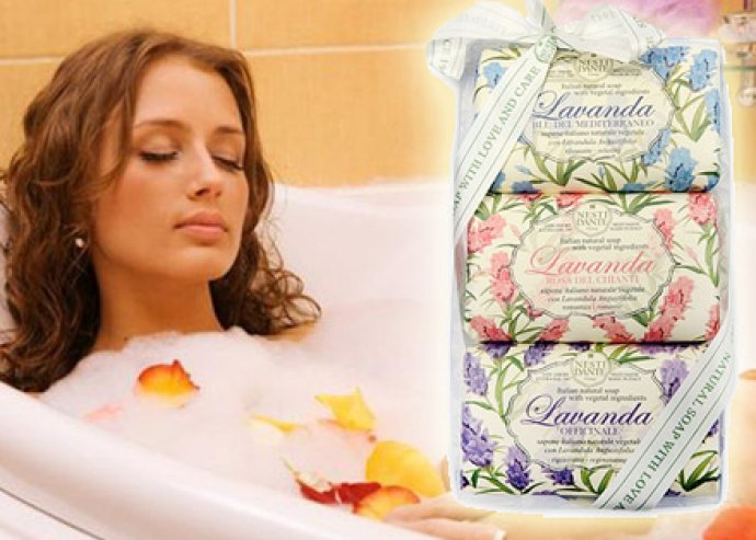 Ápold bőröd természetesen! Mélyen hidratáló Nesti Dante Levendula/ Amorino szappan szett (3x150 g)