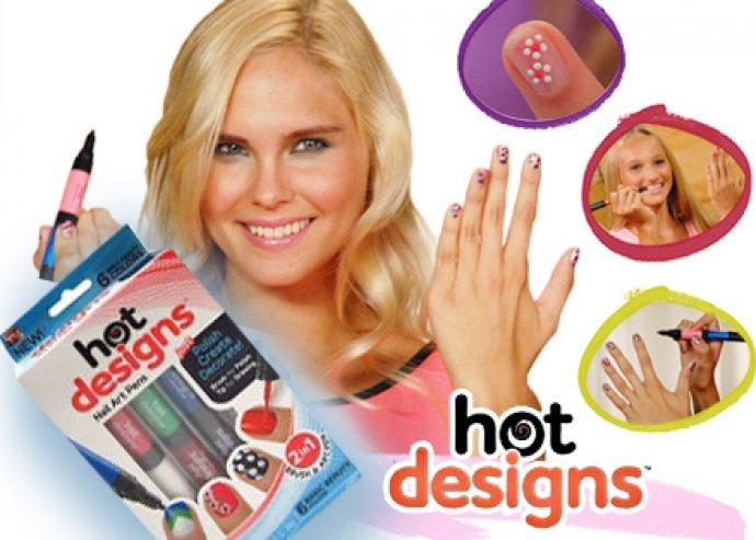 Könnyű körömfestést biztosító, HOT Designs Extra körömlakk szett 6 divatos és mutatós színnel