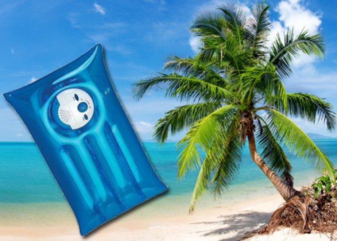 Kényelmes, praktikus, felfújható strandpárna rádióval, kék vagy narancssárga színben