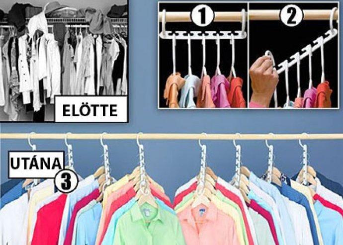 Tárolj kétszer annyi ruhát a szekrényedben! 2 szett multifogas, ellenálló kemény műanyagból, fehér színben