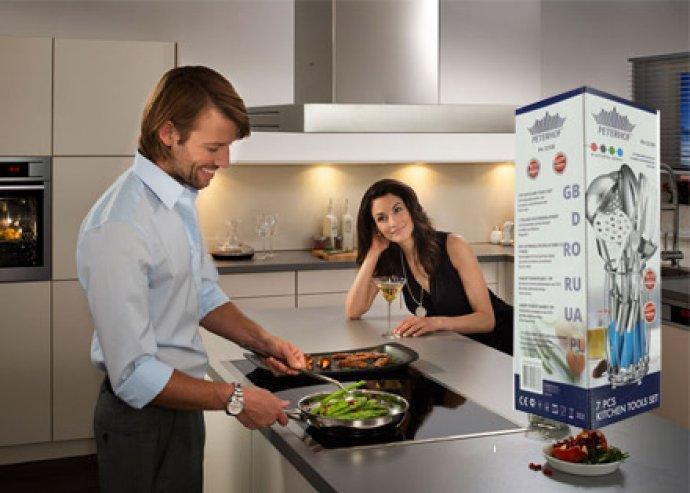 Minőség a konyhában! 7 részes konyhai eszközkészlet, rozsdamentes acélból, egy stabil tartóban
