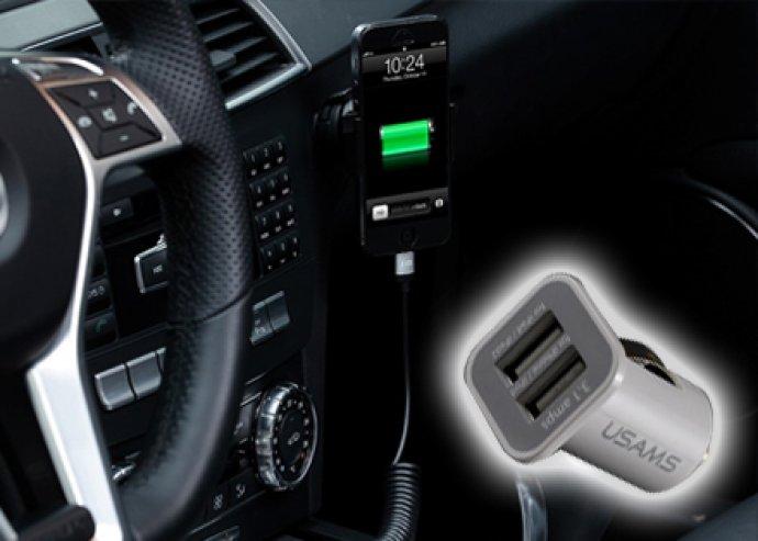 Szivargyújtóról működtethető autós telefontöltő, akár 2 mobil egyidejű töltéséhez, több színben