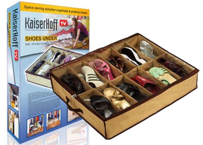 Rendkívül praktikus, cipzárral zárható 12 rekeszes cipőtároló