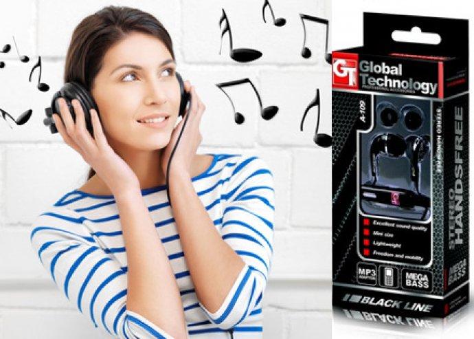 GT Black Line fülhallgató, beépített mikrofonnal, iPhone és iPod kompatibilis, 3.5 mm jack csatlakozóval