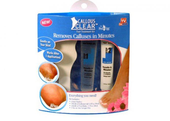 Callous clear bőrkeményedés elleni szett, 4 db tapasz, 1 puhító gél, balzsam, 1 db kettő az egyben lehúzó