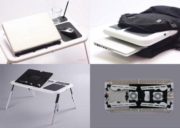 Összecsukható laptoptartó és hűtő, pohártartóval és egérpaddal, USB-áramellátású hűtőventilátorokkal