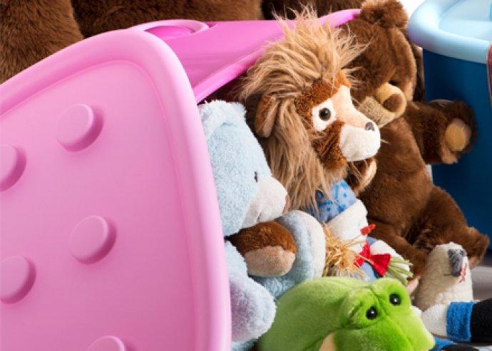 Funny box,60 l-es tároló dobozok, színes műanyagból, lekerekített formákkal, praktikus kerekekkel, biztonságos
