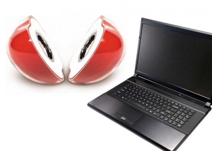 Alma hangszóró laptophoz, USB-s vagy hálózati áramellátás, CD-k, MP3, MP4, DVD, iPod-hoz is, LED világítás