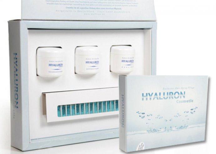 Komplex Hyaluron krémszett, 15 ampulla, 1 db bőrradír, 1 db nappali hidratáló krém, 1 db éjszakai ápoló krém