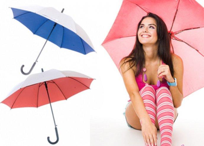 Automata esernyő több színben, kívül ezüst, belül színes, 8 paneles, műanyag fogóval