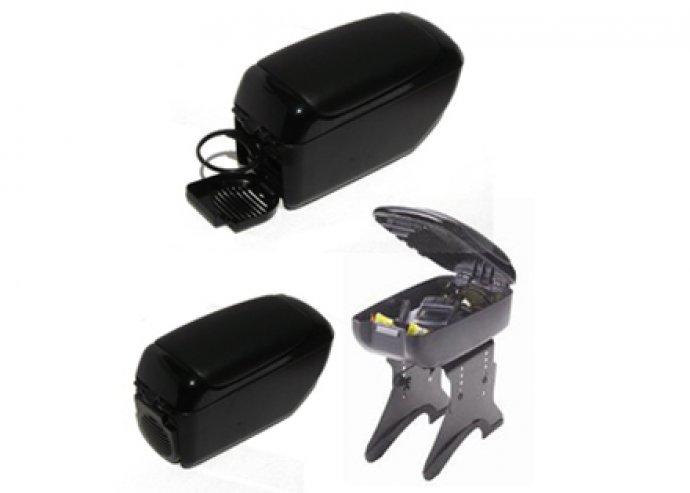 Univerzális könyöklő autóba, tároló rekesszel, pohártartóval, állítható talppal, puha, fekete kivitel
