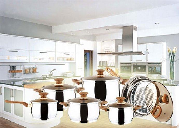12 részes Jumbo edénykészlet különböző méretű lábosokkal és grill serpenyővel