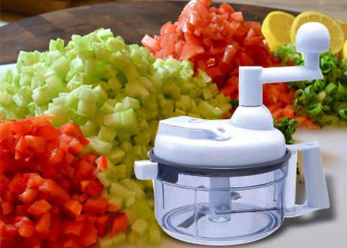 Gyorsaprító, multifunkciós konyhai kisgép, zöldségcentrifuga, szeletelőkés, habfelverő, tojássárga-elválasztó