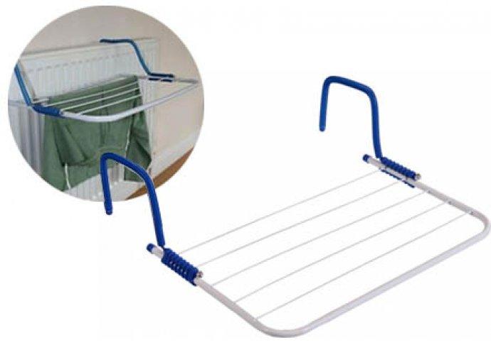 Padura radiátorra akasztható ruhaszárító, felhelyezhető akár az erkély korlátjára, vagy a fürdőkád szélére is