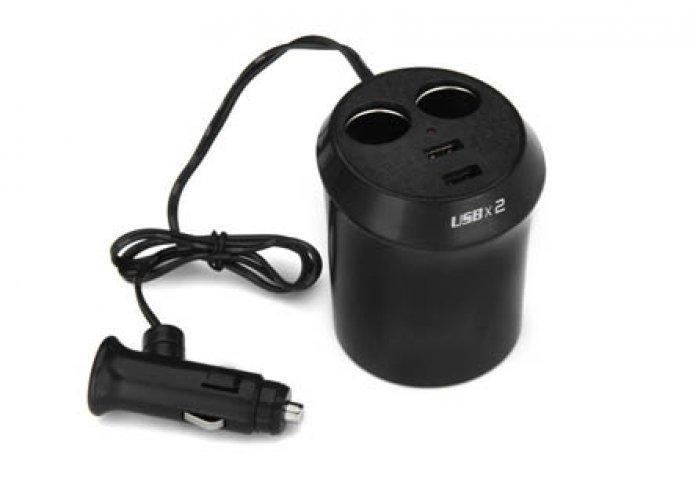 Pohártartós dupla töltő, 2 db szivargyújtó aljzat 12 V és 2 db USB aljzat