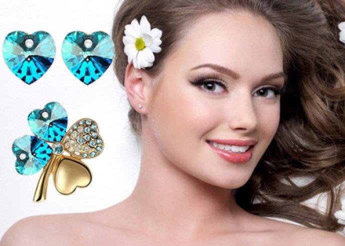 Aranyozott, lóherés ékszer szett, nyaklánc medállal + fülbevaló + bross