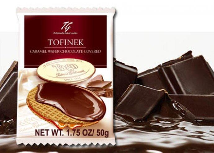 12 db Tofinek karamellás krémmel töltött étcsokoládéba mártott ostya