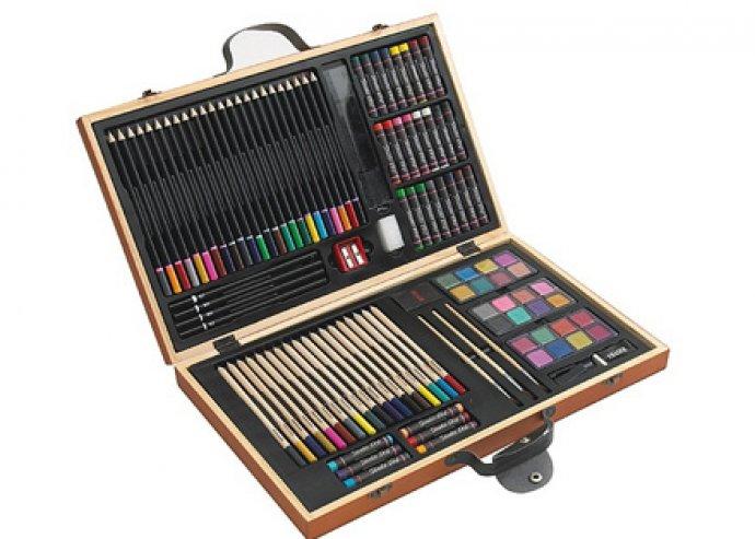 88 részes festő készlet fa dobozban, fémpántokkal, és fogóval, rengeteg féle színnel