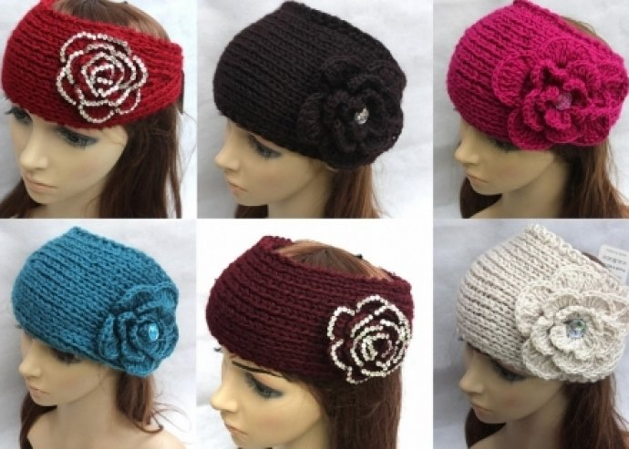 Íme az idei téli divat - Virágos női kötött fejpánt, 6 színben, akrilból