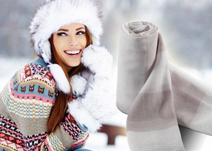 Elegáns és trendi könnyű, széles bézs-fehér csíkos sál, a hideg ellen