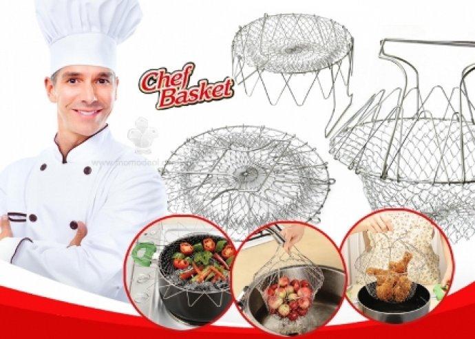 Többfunkciós, helytakarékos univerzális Chef Basket, főzéshez, pároláshoz, sütéshez