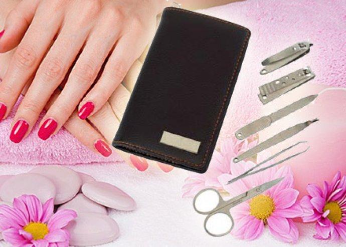 Prémium minőségű, 6 vagy 9 részes, praktikus manikűrkészlet, fekete vagy ezüst színű, elegáns tokban