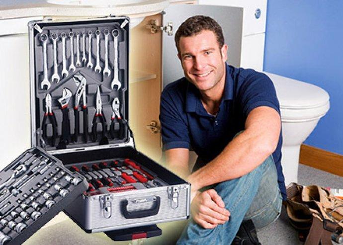 186 részes profi szerszámkészlet, alumínium gurulós kofferben