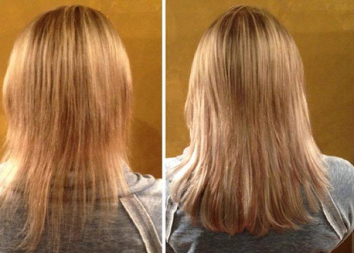 Mikrolapkeratinos hajhosszabbítás  50 cm hosszú eu hajból 100 tincs